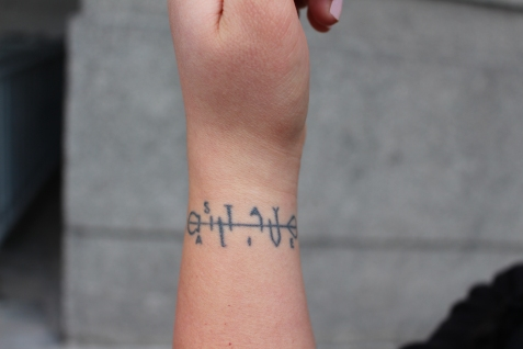 "Cecilia Aguirre's tattoo inspired by the Twenty One Pilots' song ""Truce."" Photo by Kristin Stahlke."